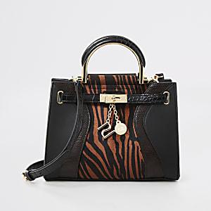 Brown tiger print mini cross body tote bag