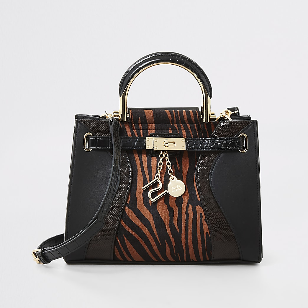 Brown tiger print cross body tote bag