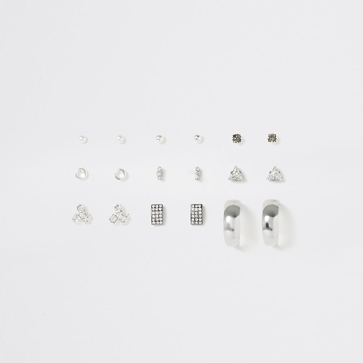 Multipack zilverkleurige verschillende oorbellen