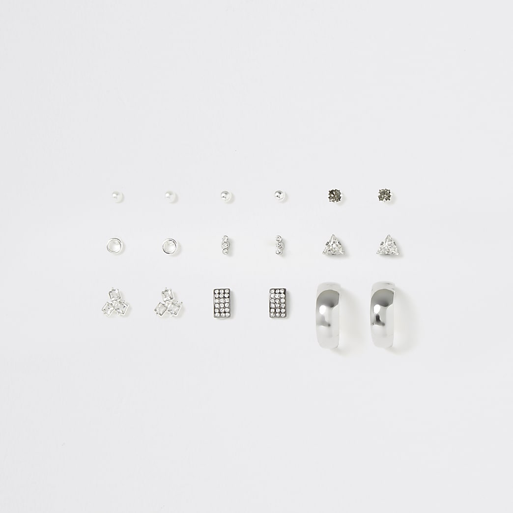 Silver colour mixed earrings multipack