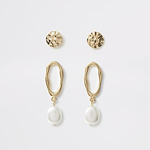 Gold colour textured earring multipack