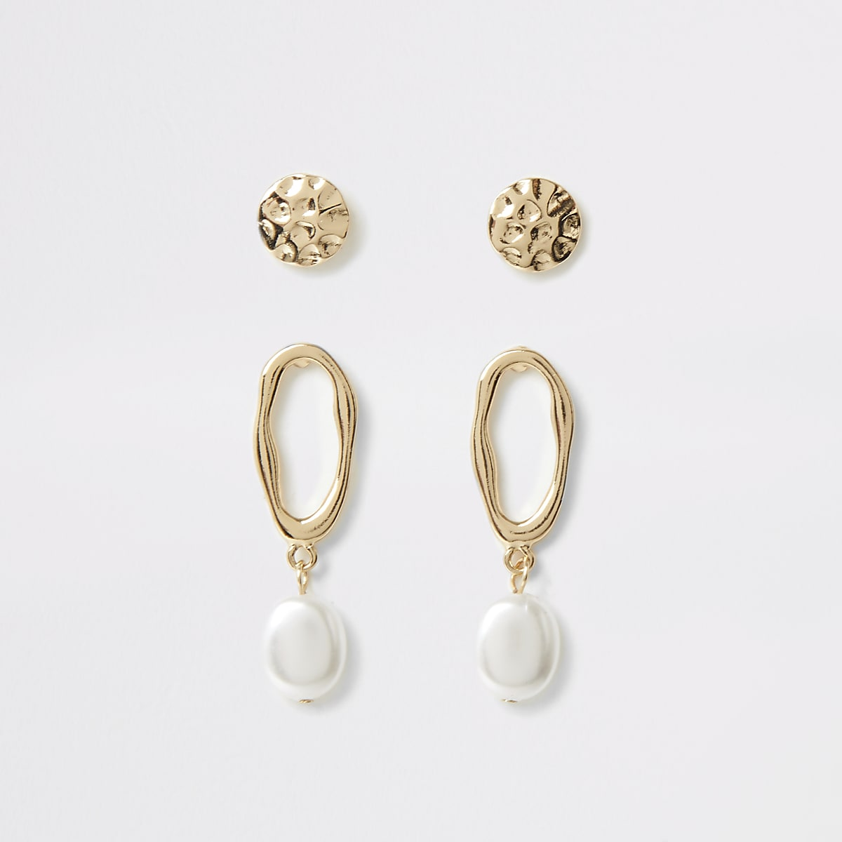 Gold color textured earring multipack