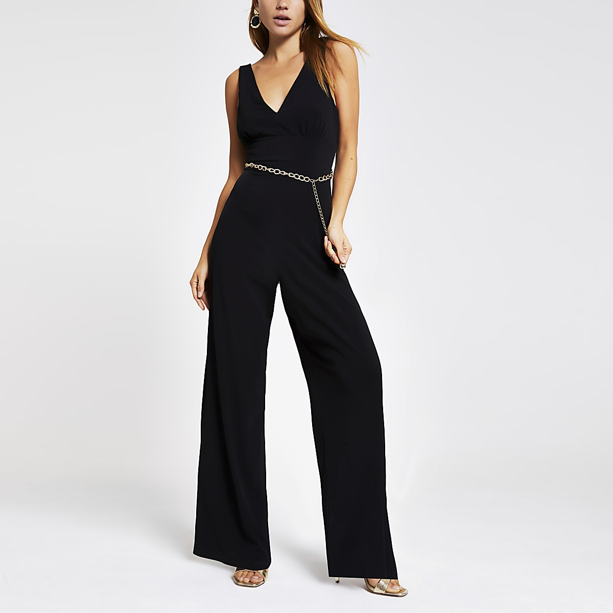 Black chain belted jumpsuit