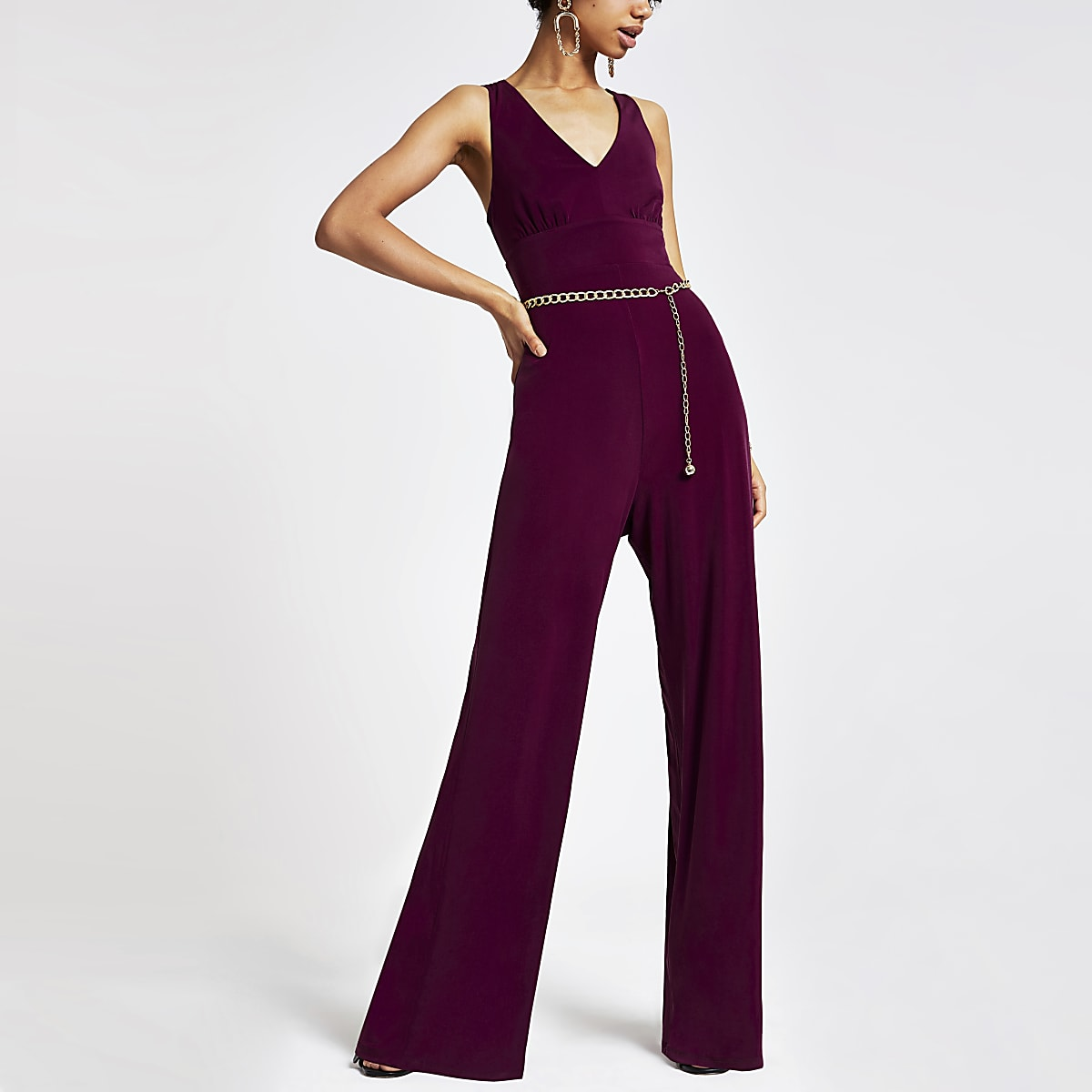 Purple chain belted jumpsuit