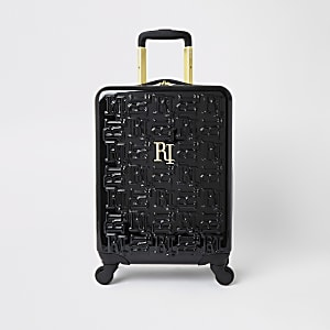 Black RI monogram suitcase