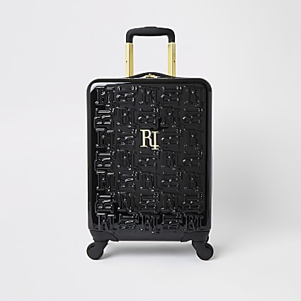 Black RI monogram small suitcase