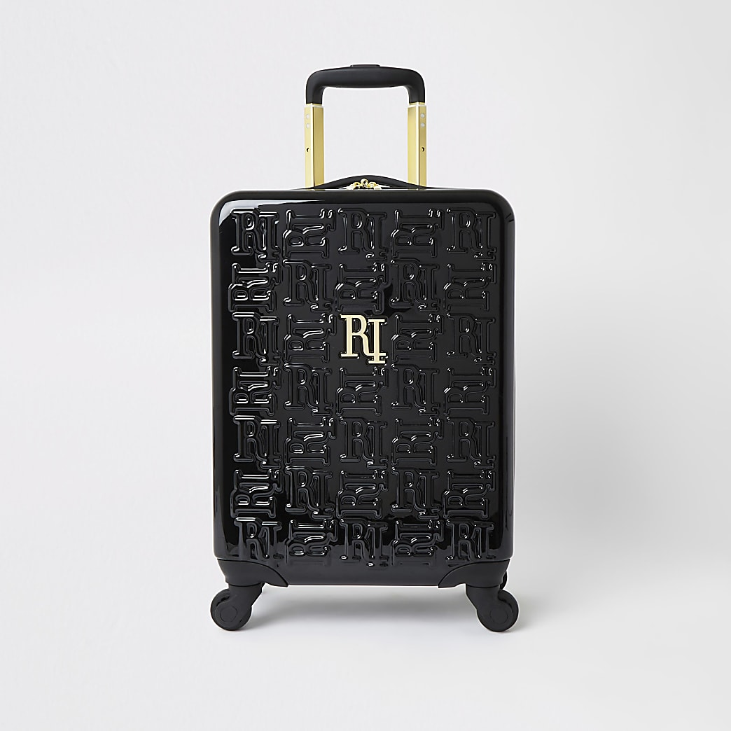 Petite valise noire monogramme RI