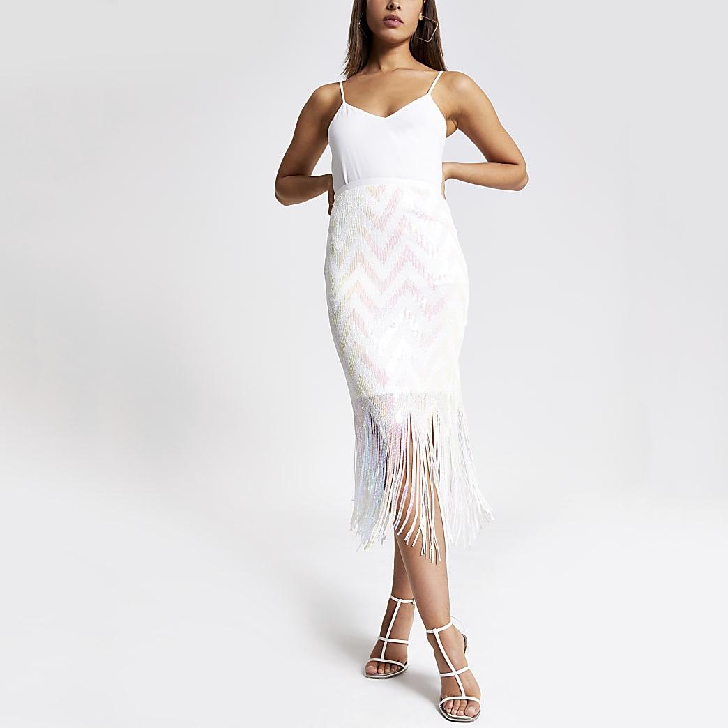 White sequin tassel pencil skirt