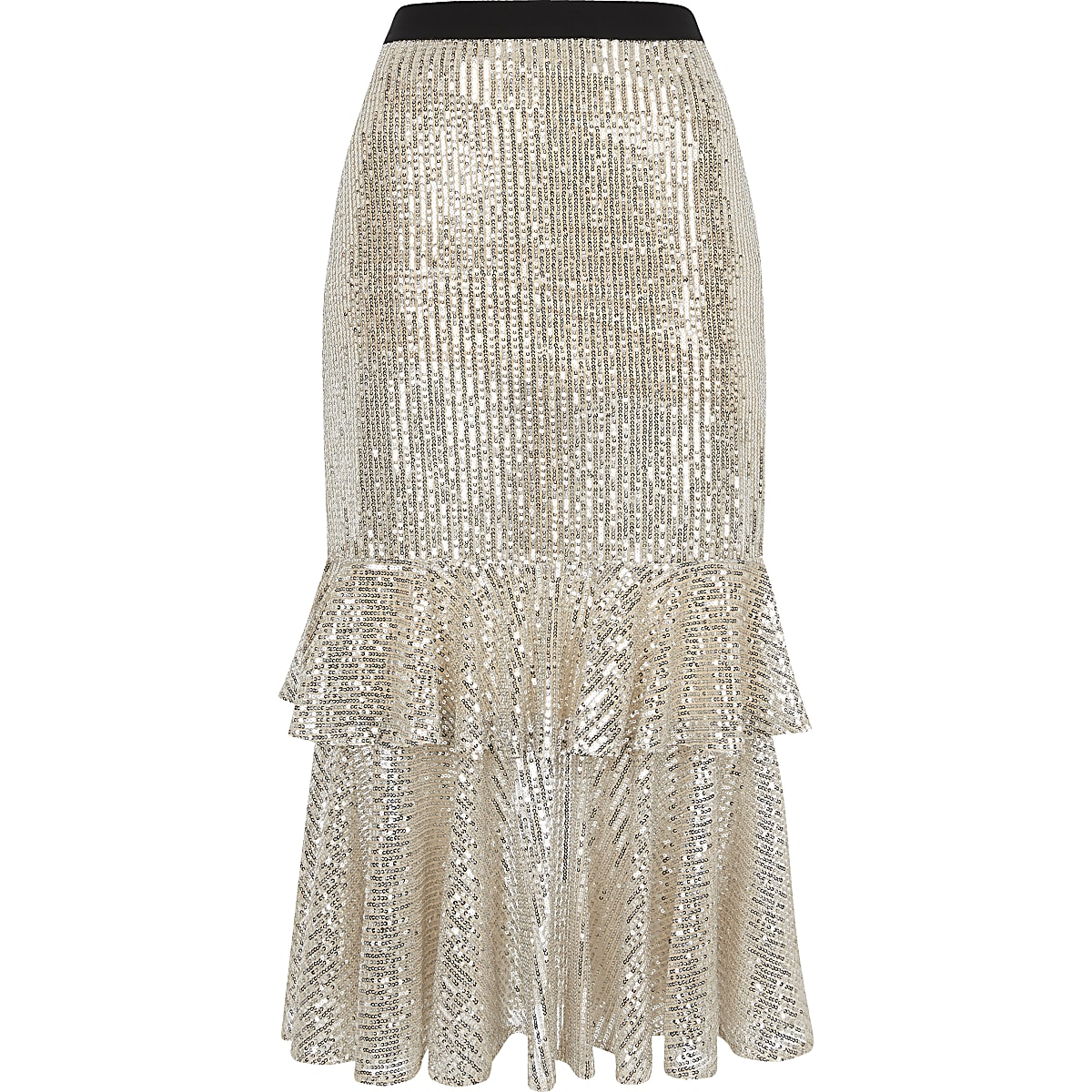 sleek better price select for clearance Silver sequin frill midi skirt