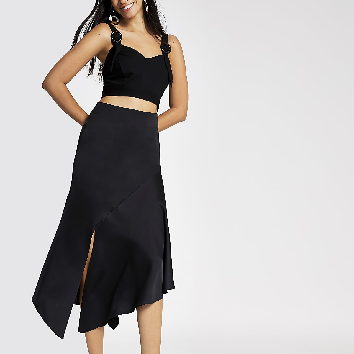 4f232fb69 Black asymmetric midi skirt - Midi Skirts - Skirts - women