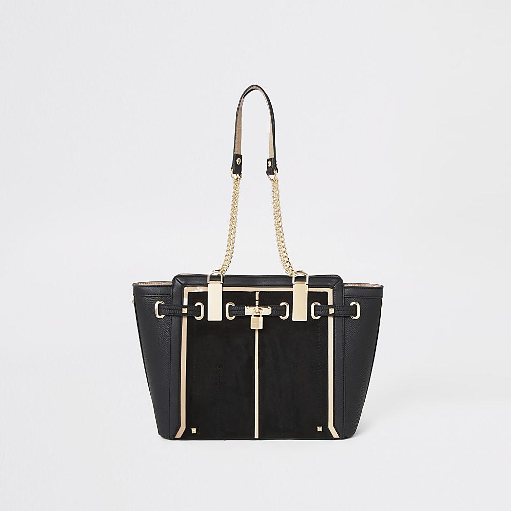 Black padlock winged tote bag