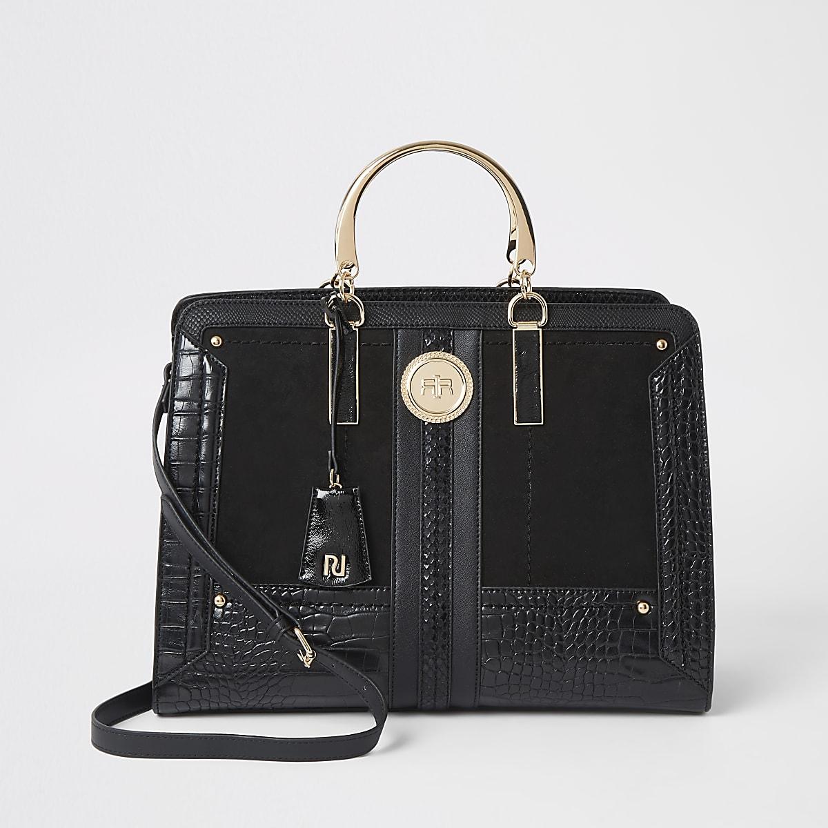 Black croc embossed tote bag