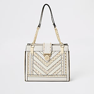 Cream studded tote bag