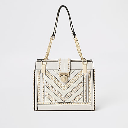 Cream studded tote bag