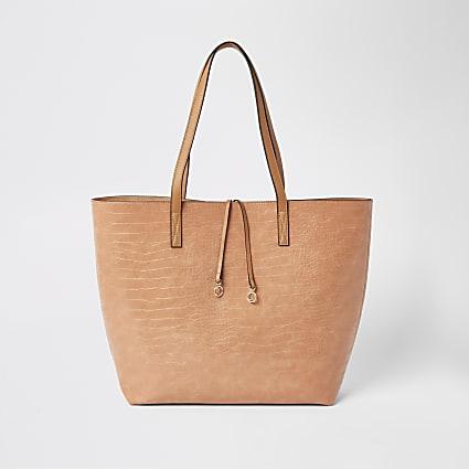 Bright orange croc shopper beach bag