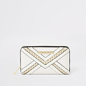 Cream stud zip around purse