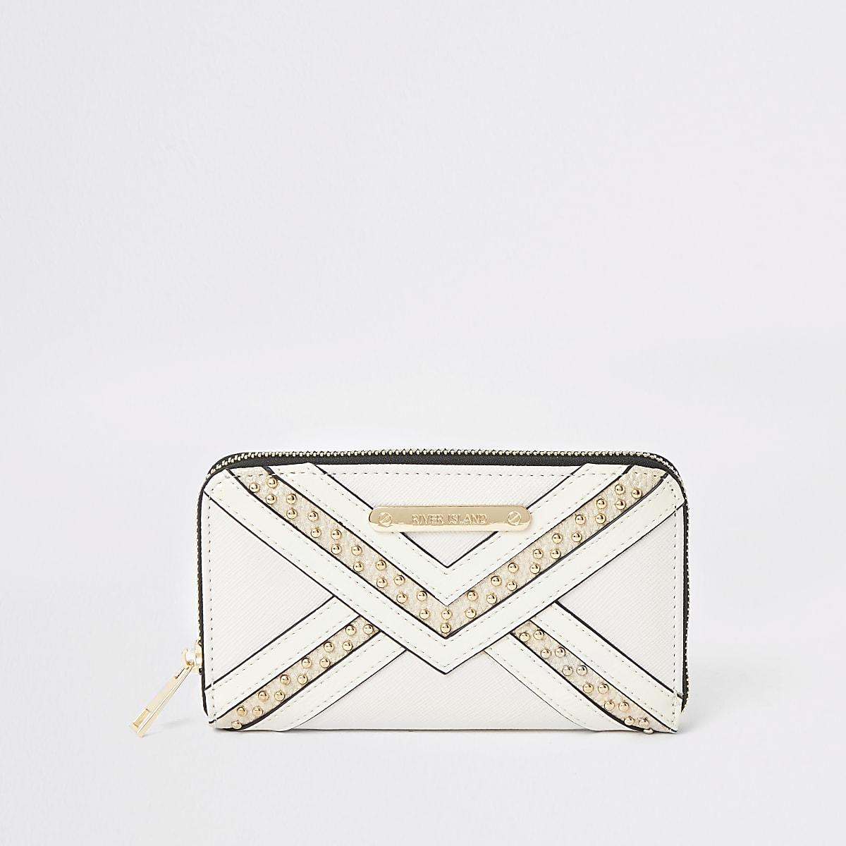 Cream stud zip around purse