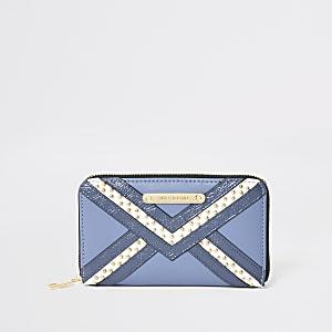 Blue studded zip around purse