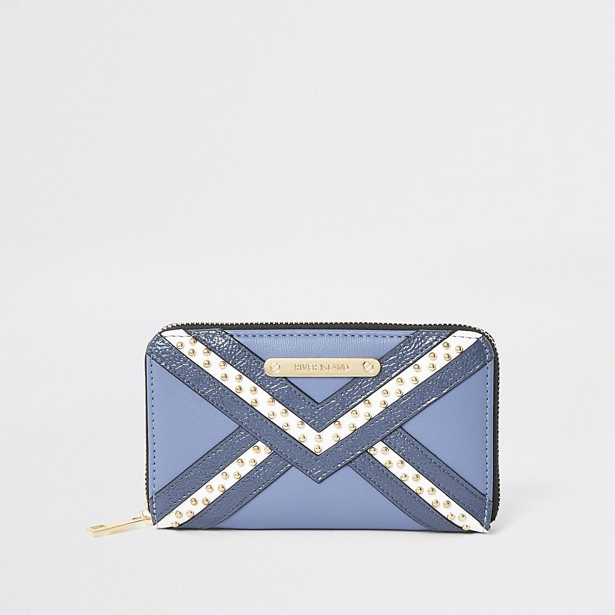 Blue studded zip around purse