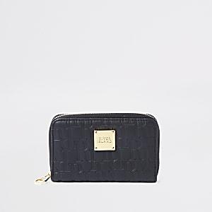 Zwarte kleine RI-portemonnee met borduursel en rits rondom