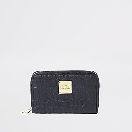 Black RI embossed zip around mini purse