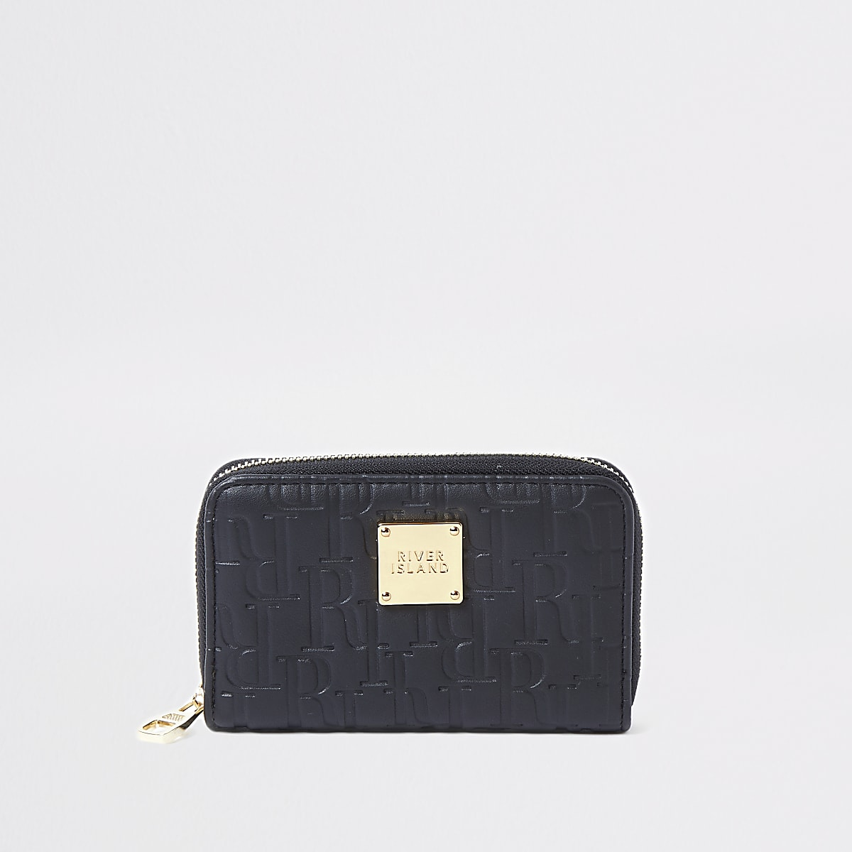 Black RI embossed zip around mini purse