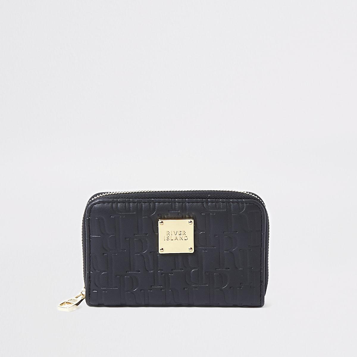 Mini porte-monnaie noir à logo RI zippé sur le pourtour