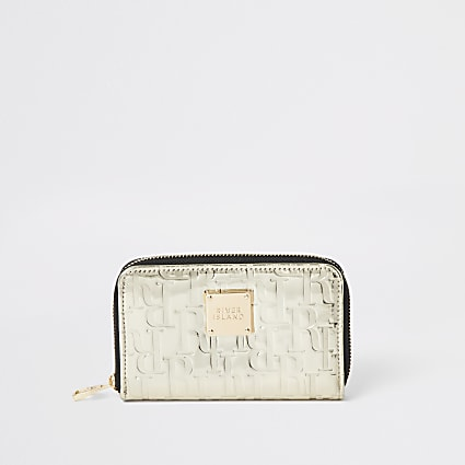 Gold RI embossed zip around purse