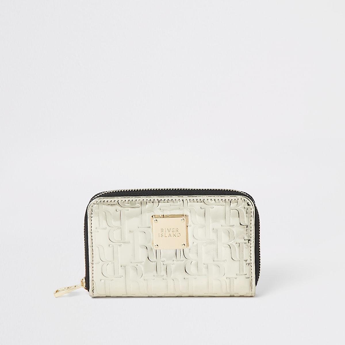 Goudkleurige portemonnee met RI in reliëf en rits rondom