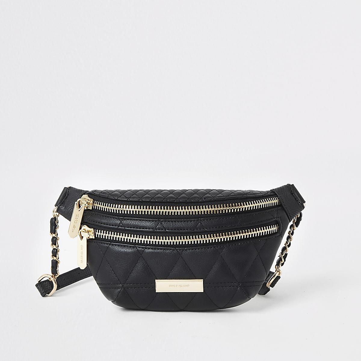 Zwarte doorgestikte tas met riem
