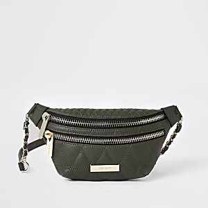 Khaki quilted belt bag