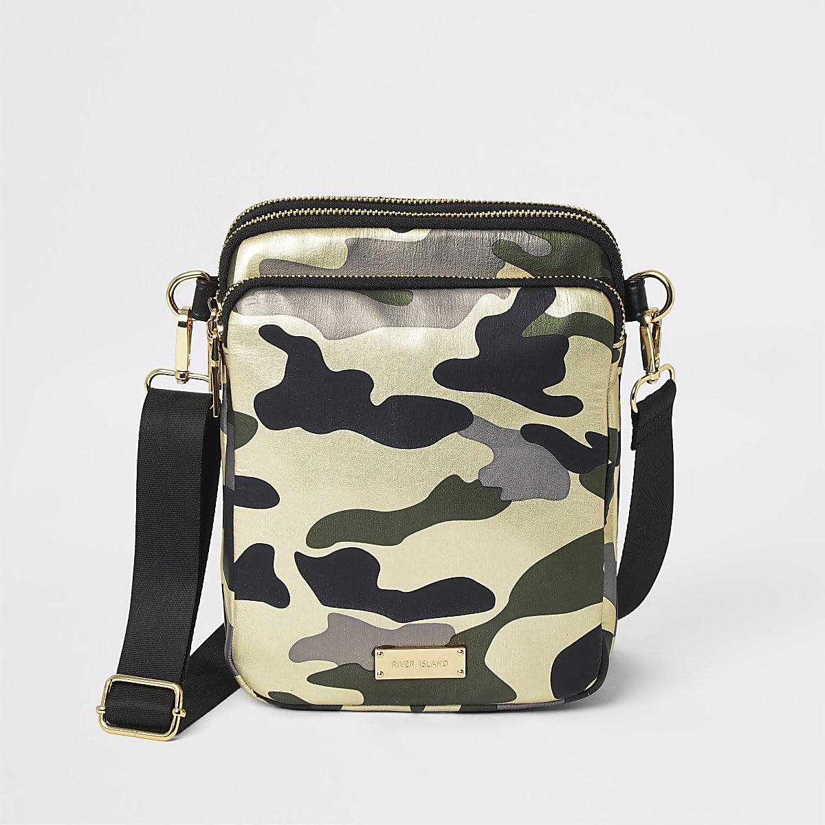 Dark green camo cross body flight bag