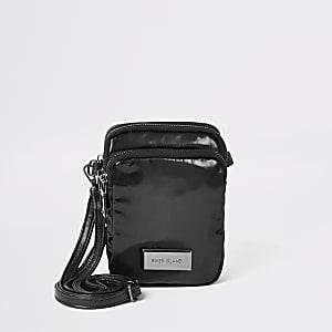 Black high shine cross body bag