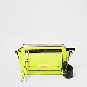 Neon yellow pocket front cross body bag