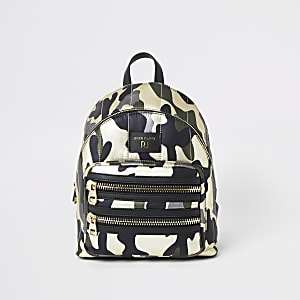 Dark green camo print backpack