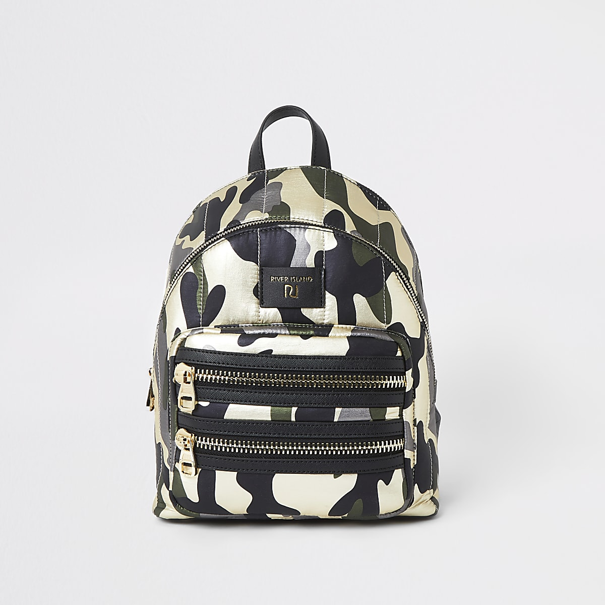 Dark green camo print backpack