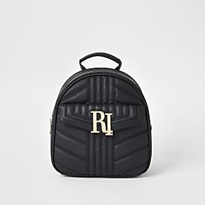 Zwarte doorgestikte rugzak met RI-logo