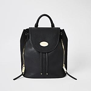 Black fold over backpack