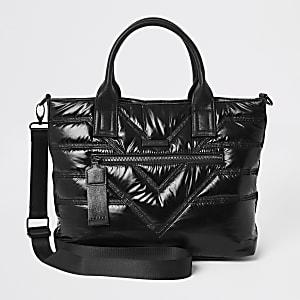 Black quilted shopper bag