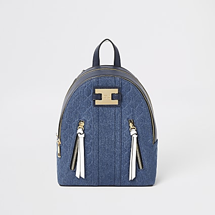 Blue denim RI panel backpack