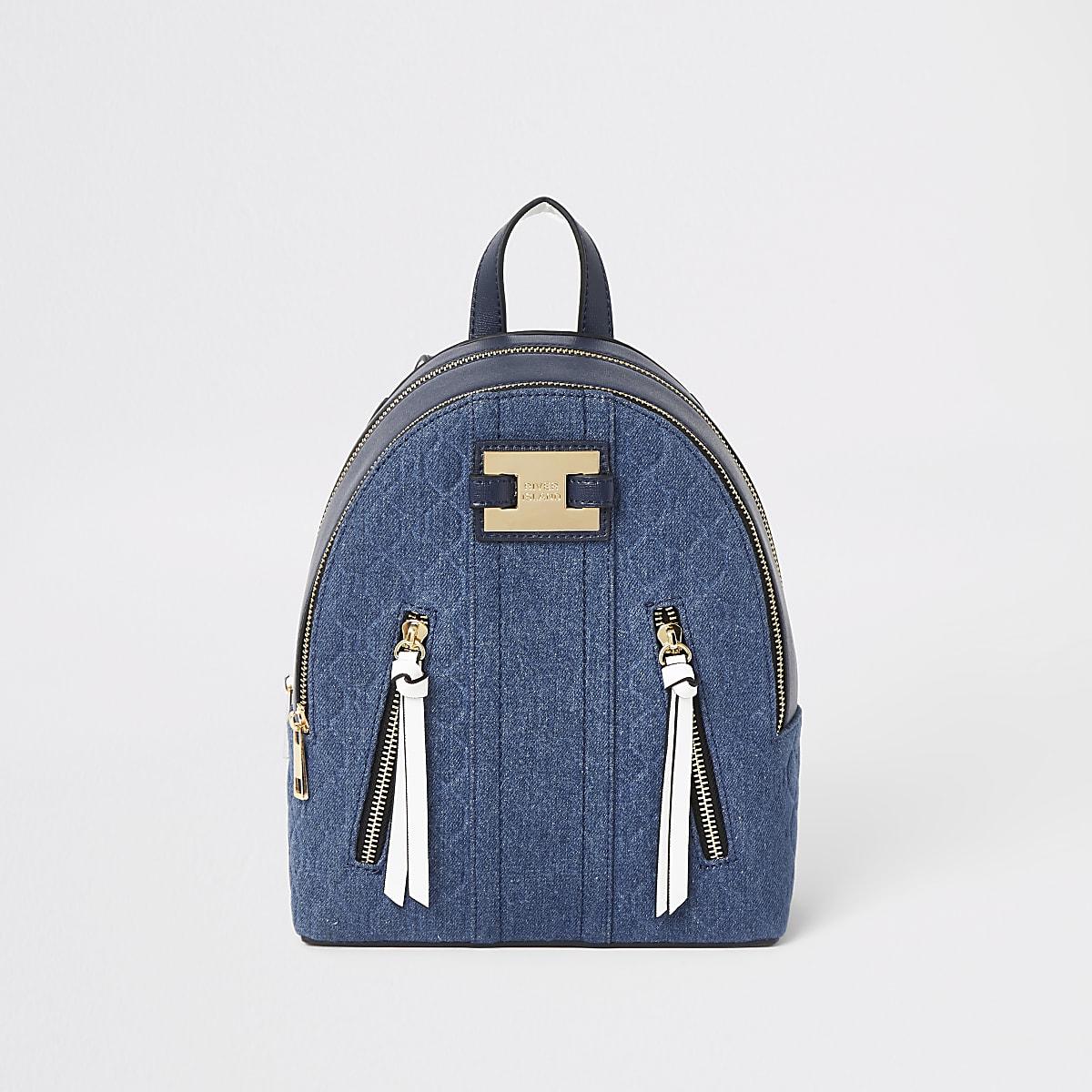 Blue denim RI panel backpack