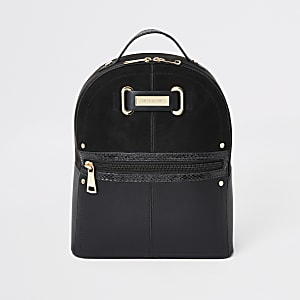 Black zip front backpack