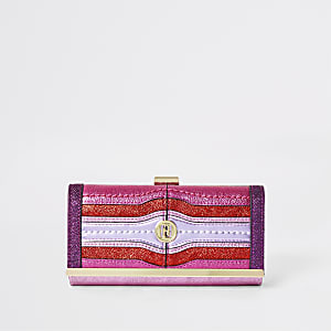 Purple and pink metallic cliptop purse