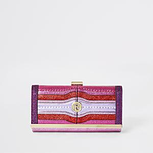 Porte-monnaie métallisé violet et rose à fermoir clip