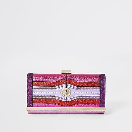 Purple and pink metallic cliptop purse