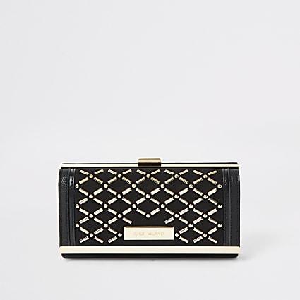 Black studded clip top purse