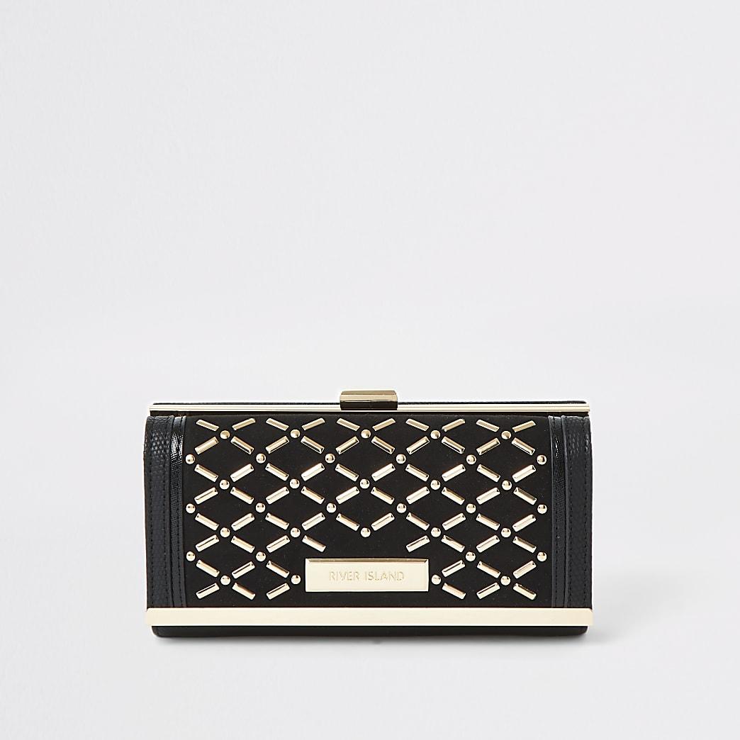 Zwarte portemonnee met studs en druksluiting