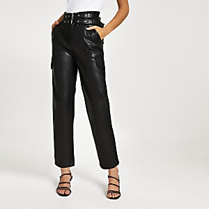 Black belted tapered coated trousers