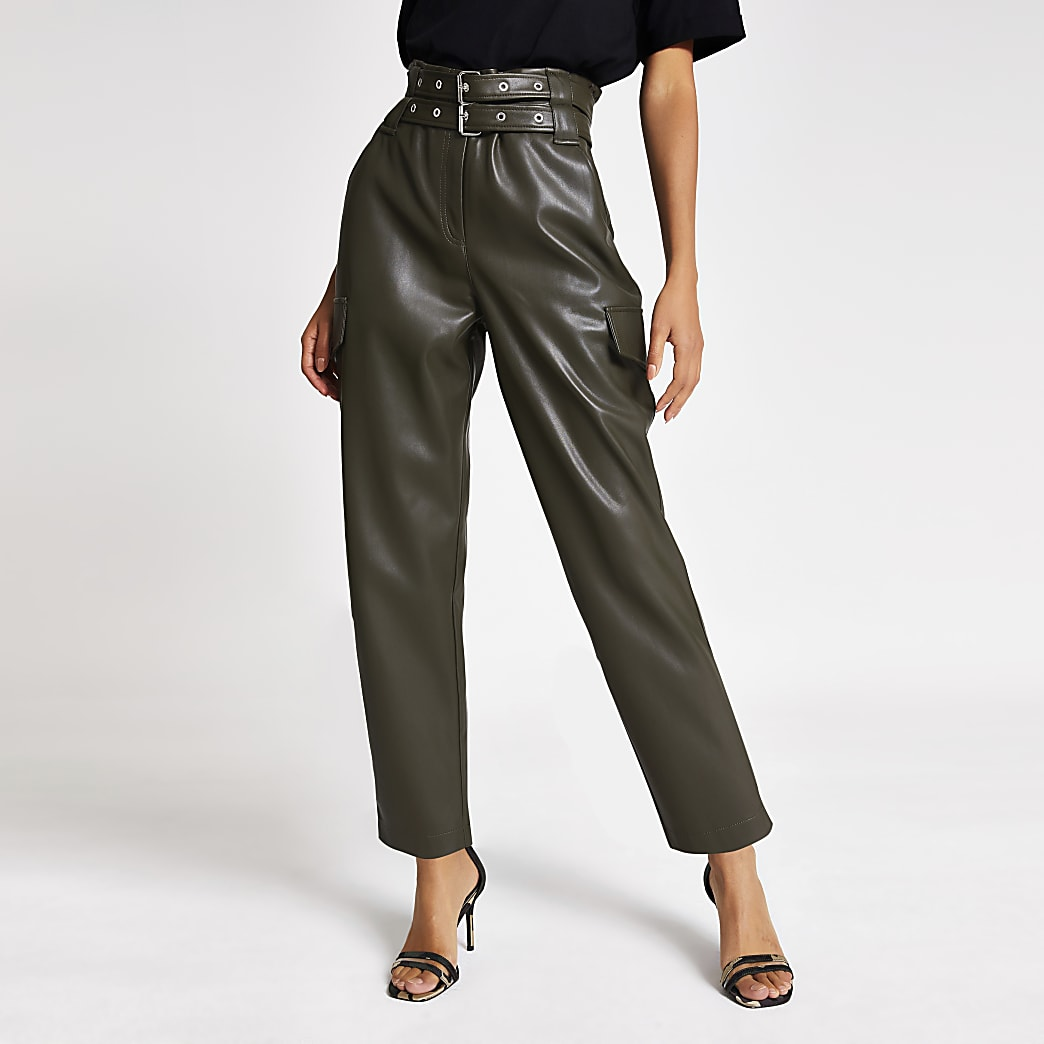 Khaki belted tapered coated trousers