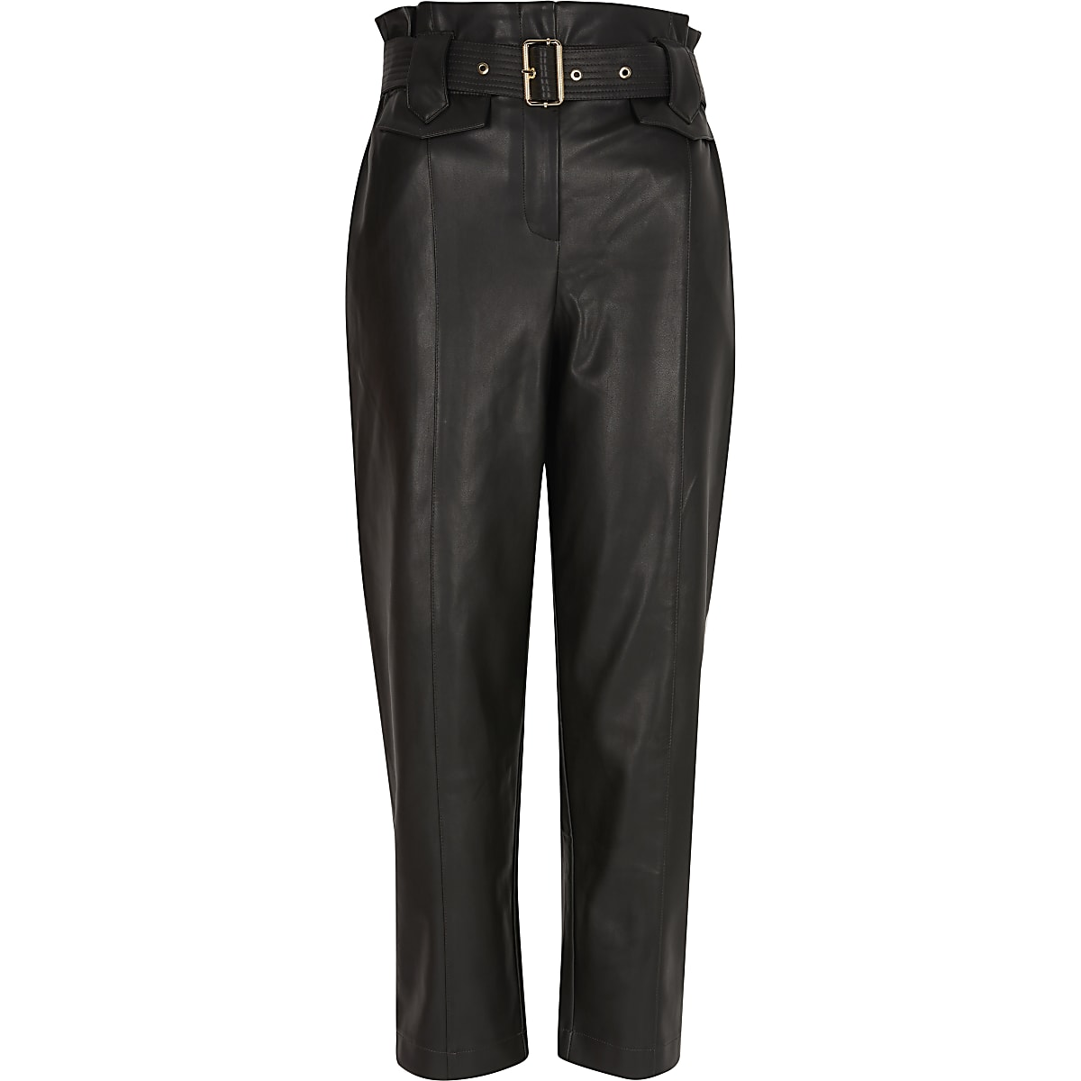 search for official dirt cheap superior performance Black faux leather high waist belted trousers